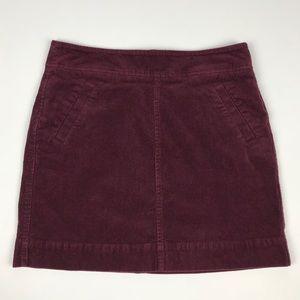 Loft Burgundy Corduroy Mini Skirt Size 6P